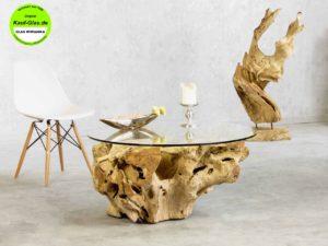 Glastisch Rund mit Holzwurzel